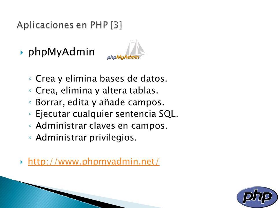 phpMyAdmin Aplicaciones en PHP [3] Crea y elimina bases de datos.